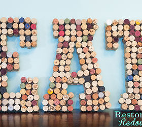 DIY Wine Cork EAT Letter Art